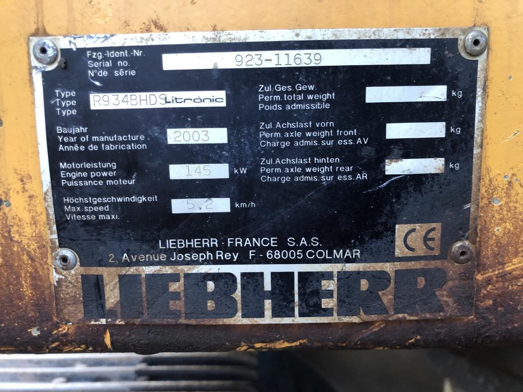 PELLE SUR CHENILLES LIEBHERR R934BHDS PC014
